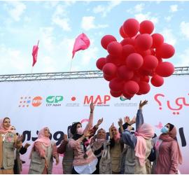 """يوم رياضي """"وردي"""" يعيد الروح لمريضات سرطان الثدي في قطاع غزة"""