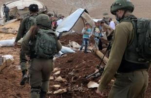 جيش الاحتلال يهدم خربة حمصة الفوقا بالأغوار ويحاول تهجير المواطنين منها بالقوة