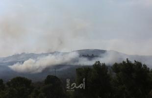 مستوطنون يضرمون النار في مساحات واسعة من أراضي جالود جنوب نابلس