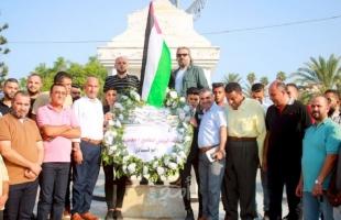 """""""إصلاحي فتح"""" يضع إكليلاً من الزهور على النصب التذكاري لـ""""الجندي المجهول"""" في غزة"""