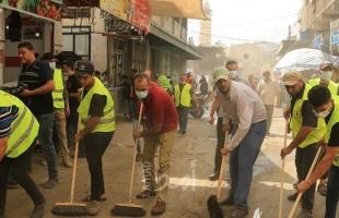 """الجهاد تقوم بحملة تنظيف واسعة لـ""""سوق الزاوية"""" بغزة- فيديو"""