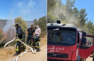 الدفاع المدني الفلسطيني يشارك باطفاء الحرائق في القدس- صور وفيديو