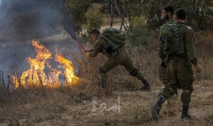 "اندلاع حريق في أحراش كيبوتس ""بئيري"" شرق غزة"
