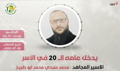 """مهجة القدس: الأسير """"محمد أبو طبيخ"""" يدخل عامه الـ(20) في سجون الاحتلال"""