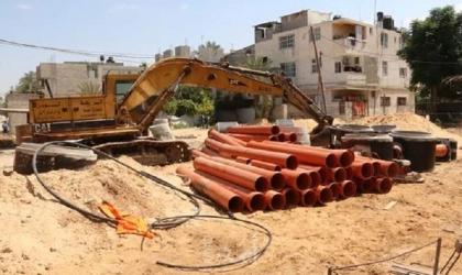 البدء بتنفيذ مشروع إصلاح الأضرار التي لحقت بشبكات المياه والصرف الصحي في مدينة بيت حانون